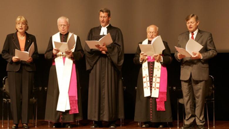 (v.r.n.l.) Helmut Sauer (Salzgitter), Franz Jung, Dr. Bernhard Felmberg, Evangelische Kirche Berlin-Brandenburg-schlesische Oberlausitz, Dr. Lothar Schlegel, Sibylle Dreher